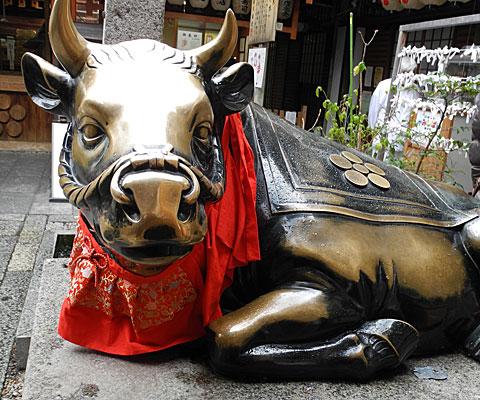 錦天満宮の牛の像